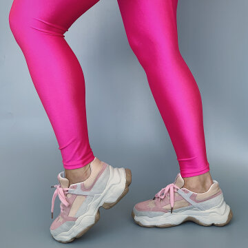 pow pink shiny leggings fra le mosch